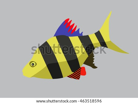 Cute fish cartoon. Vector flat