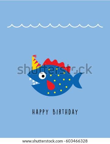 Cute fish happy birthday greeting card stock vector 603466328 cute fish happy birthday greeting card bookmarktalkfo Gallery