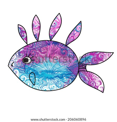 Cute fish, ornament with contour. Blue. Art. Vector illustration, isolated. As sign, symbol, print. - stock vector