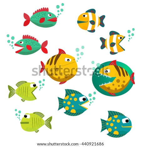 Cute fish vector illustration icons set. Fish icons isolated. Tropical fish, sea fish, aquarium fish set isolated on white background. Sea color flat design fish.