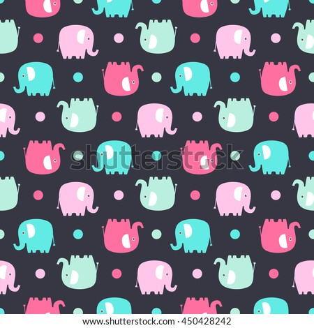 Cute flat elephant. Vector seamless pattern with fun color elephants silhouette and dots. Sweet background for babies and children. Pastel colors - pink and green on black background. - stock vector