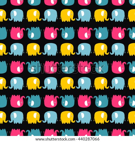 Cute flat elephant. Vector seamless pattern with fun color elephants silhouette. Sweet background for babies and children. Bright animals - yellow, pink, blue and grey on black background. - stock vector