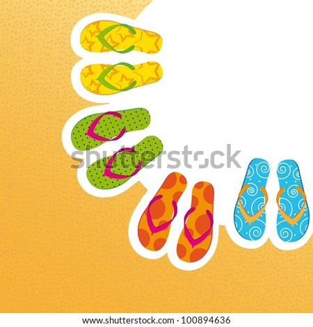 cute flip flops with space for copy, background. vector illustration - stock vector