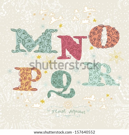 Cute floral alphabet letters m n o p q r stock vector