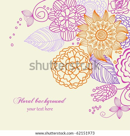 Cute floral background in vivid colors - stock vector