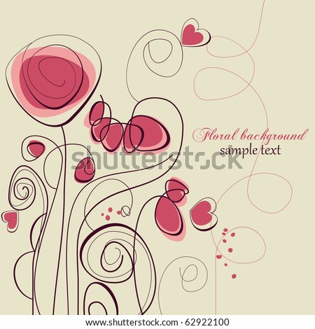 Cute floral background, love message - stock vector