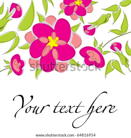 Cute floral background with bright colors - stock vector