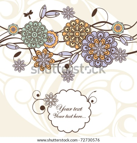 cute floral background with free space for your text