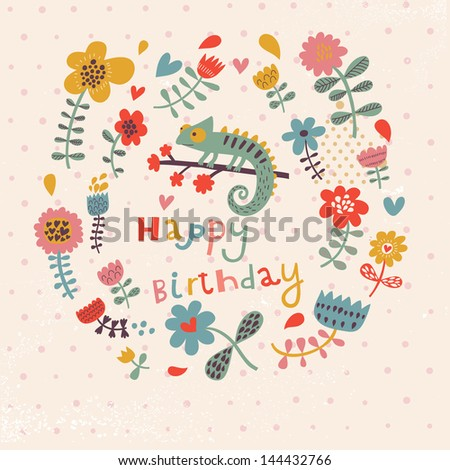 beautiful happy birthday greeting card flowers stock vector, Birthday card