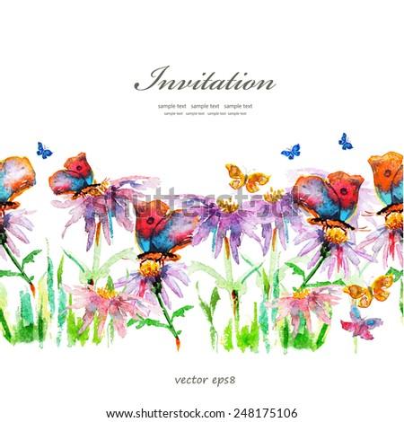 cute floral border. watercolor - stock vector