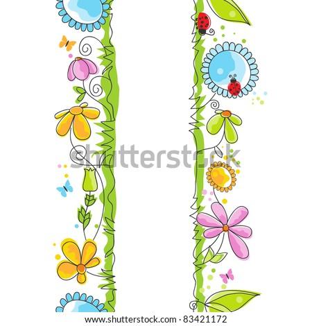 Cute floral borders - stock vector