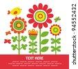 cute floral card. vector illustration - stock vector