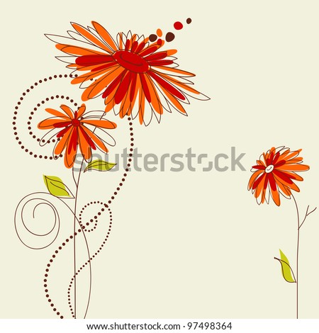 Cute floral card vector illustration - stock vector