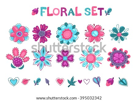 Cute floral elements set, textile decor design elements om white background - stock vector