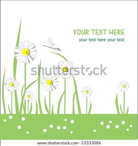 cute floral greeting card with place for your text - stock vector