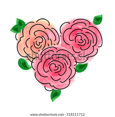cute floral heart - stock vector
