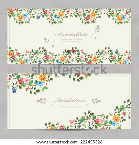 cute floral invitation cards for your design - stock vector