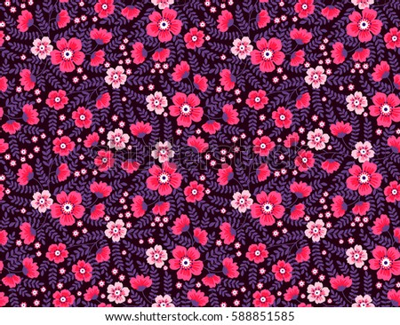 Cute floral pattern pretty flowers on stock vector royalty free cute floral pattern pretty flowers on dark violet background printing with small scale mightylinksfo