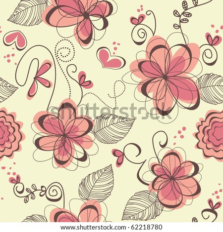 Cute floral seamless background - stock vector