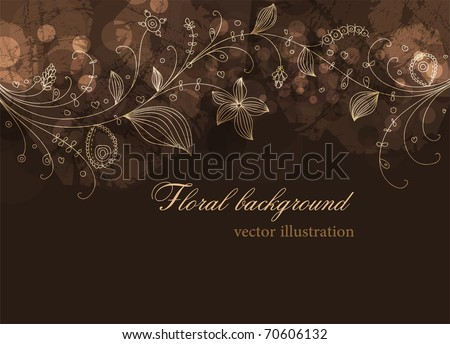 Cute floral seamless background with abstract hand drawn flowers and leafs for design. eps 10
