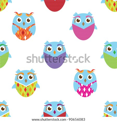 Cute floral seamless background with owls - stock vector