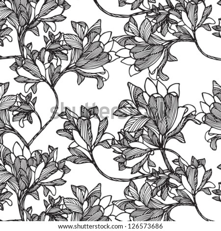 Cute Floral  seamless pattern black and white - stock vector