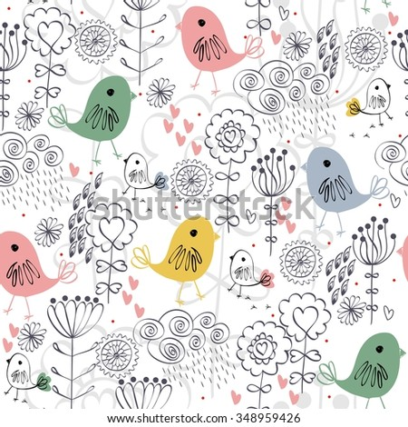 Cute floral seamless pattern with birds and flowers - stock vector