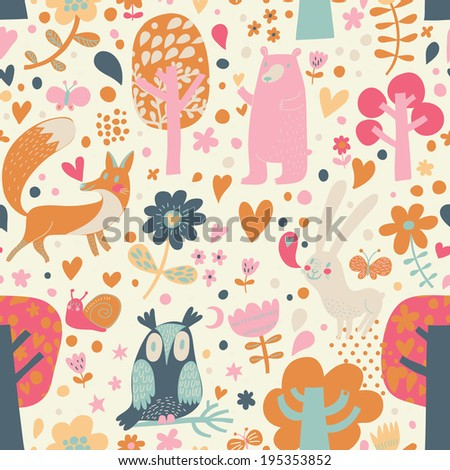 Cute floral seamless pattern with forest animals: bear, fox, owl, rabbit. Vector background with butterflies, snail, trees and flowers. - stock vector
