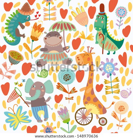 Cute floral seamless pattern with wild animals from Africa.  iguana, giraffe, hippo, elephant, crocodile - stock vector