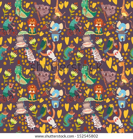 Cute floral seamless pattern with wild animals from Africa.iguana, giraffe, hippo, elephant, crocodile,jaguar, lion, koala,vulture - stock vector