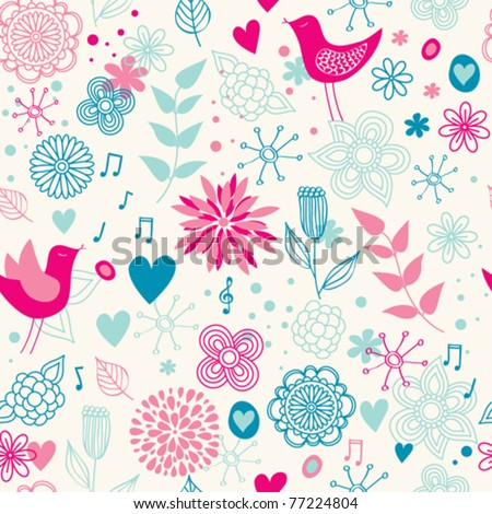 cute floral seamless with birds - stock vector