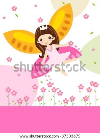 cute flower fairy - stock vector
