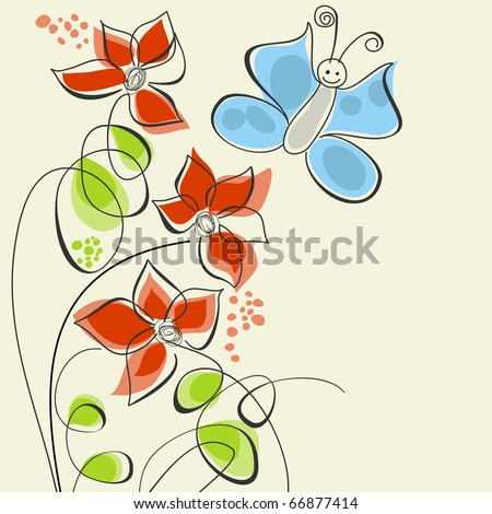 Cute flowers and butterfly - stock vector