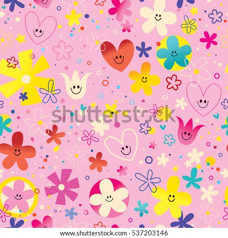 cute flowers and hearts nature love seamless pattern