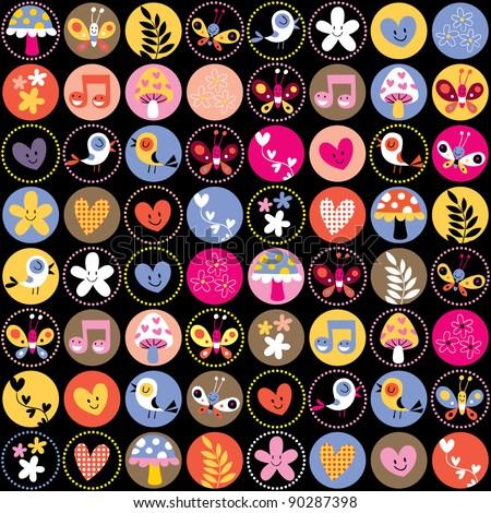 cute flowers, birds, hearts circles pattern - stock vector