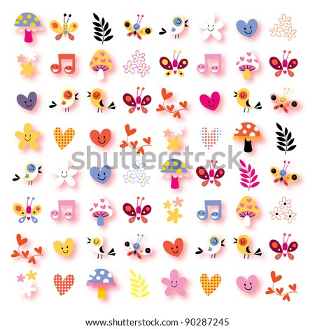 cute flowers, birds, hearts, mushrooms nature background - stock vector