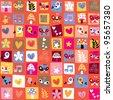 cute flowers, birds, hearts pattern - stock vector