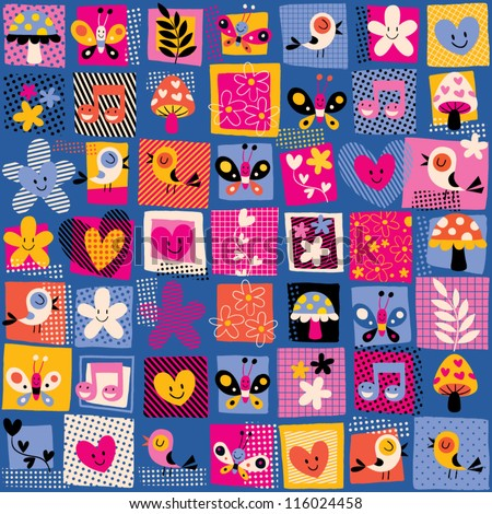 cute flowers, birds & hearts pattern