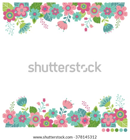 Cute flowers border vector invitation wedding stock vector 378145312 cute flowers border vector for invitation wedding greeting card design m4hsunfo