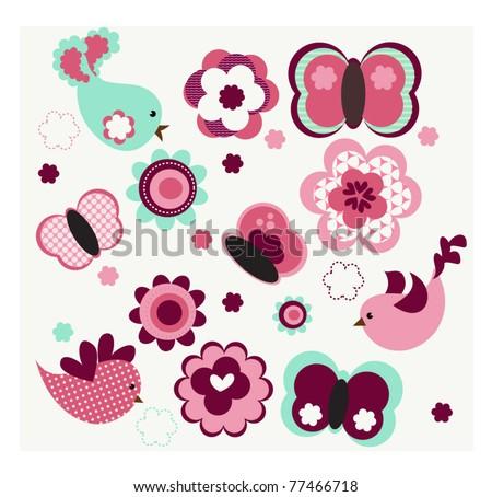 Cute Flowers & flying Butterflies Vector EPS 10 - stock vector