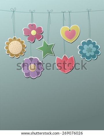 Cute Flowers, Hearts and Stars on a String Vector - stock vector