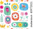cute flowers seamless pattern - stock vector