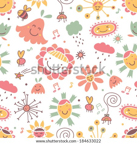 Cute flowers. Seamless pattern.