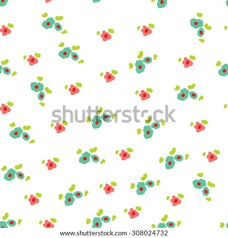 cute flowers. Seamless vector background. - stock vector