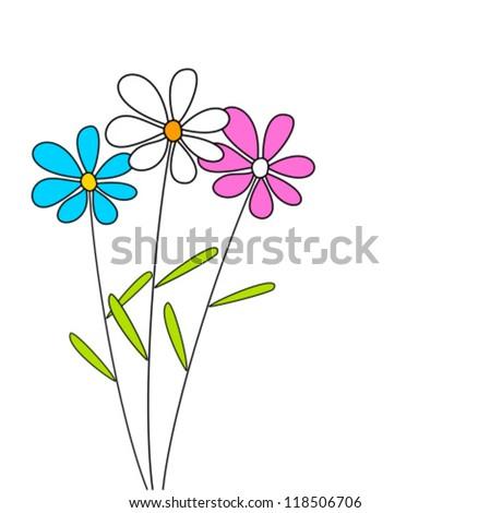 Cute flowers - vector card - stock vector