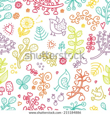Cute flowers vector seamless pattern. Seamless pattern can be used for wallpaper, pattern fills, web page background, surface textures. - stock vector