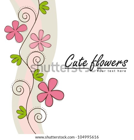 cute flowers with space for copy. vector illustration