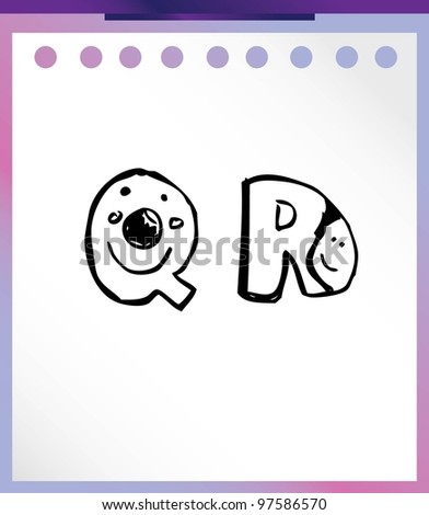 "cute font ""Q"" and ""R"" - vector illustration"