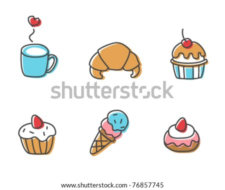 Cute food icons - stock vector