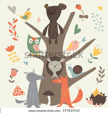Cute forest animals in cartoon style - stock vector